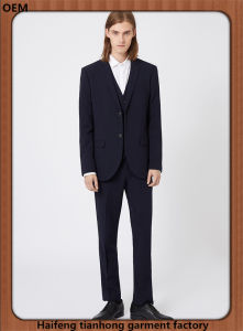 Navy Skinny Fit Three Piece Wool Suit