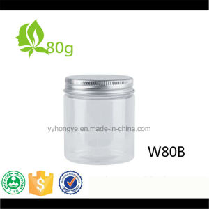 80ml Clear Pet Wide Mouth Jar with Aluminium Lid pictures & photos