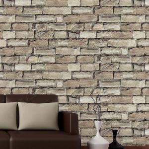 Building Material Cheap Price Wholesale PVC Vinyl 3D Stone Design Wallpaper pictures & photos
