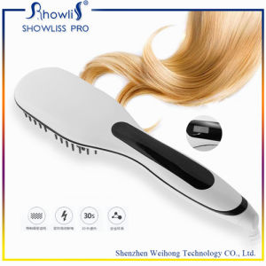 New Brand Hot Sales and High Quaility OEM 2 in 1 Ionic Hair Straightening Brush with LCD Display pictures & photos