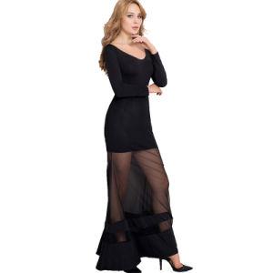 Black OEM Services Super Hot New Arrivals Wholesale Black Fierce Sexy Long Dress pictures & photos
