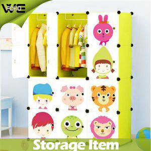 DIY Utility Folding Kids Storage Box Cute Bedroom Plastic Wardrobe pictures & photos
