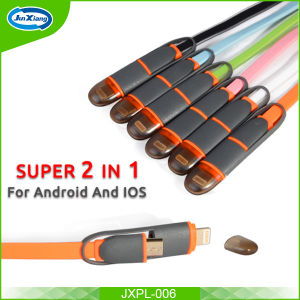 1m 2 in 1 Noodle USB Charging Cable for iPhone for Samsung Universal Data Cable pictures & photos