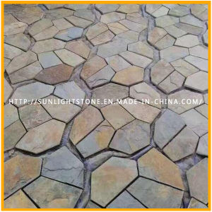 Fresh New Natural Slate Paving Rusty/Yellow Wooden Vein Slate Flagstone Pattern pictures & photos