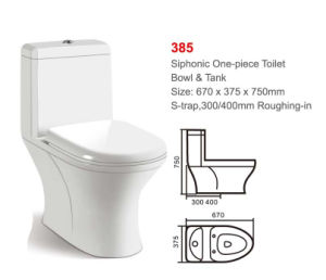 385 White Siphonic One-Piece Toilet pictures & photos