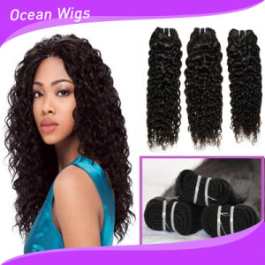 Full Cuticle Virgin Raw Curly Wave Brazilian Hair Machine Weft pictures & photos