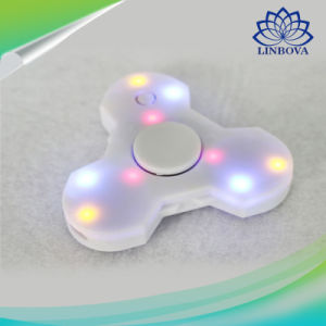 Blue and White Plastic LED Light Finger Hand Gift Fidget Spinner with Bluetooth Speaker pictures & photos