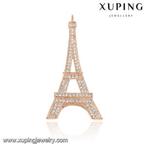 00045 Fashion Luxury CZ Rose Gold-Plated Eiffel Tower Jewelry Brooch pictures & photos