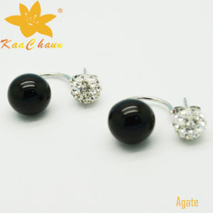 Ager-004 Unique Black Color 10mm Agate Silver Drop Earrings pictures & photos
