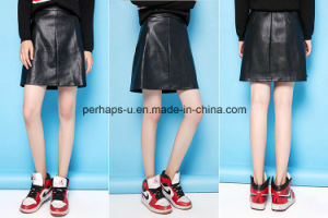 High Quality Ladies Clothes Slim Retro A-Line PU Skirt pictures & photos