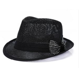 Rhinestone Straw Fedora Hat for Women pictures & photos