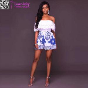 Mariam White Blue off The Shoulder Crochet Romper L55324-2 pictures & photos