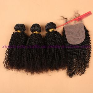 Unprocessed 3/4 Bundles with Silk Base Closure Malaysian Virgin Hair Bundles with Closure Kinky Curly Closure Curly Weave Human Hair Extension