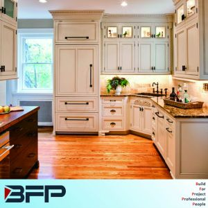 U Shaped Kitchen Designs with PVC Panel for Wall Hanging Cabinet pictures & photos