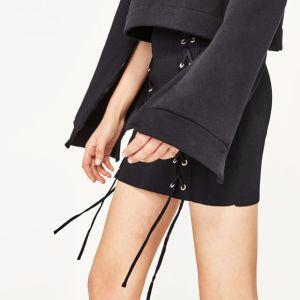 Ladies Fashion Chiffon Preppy Style Bandage Mini Short Skirt pictures & photos