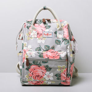 Large Size Floral Patterns Grey Canvas School Backpack (99239-17)