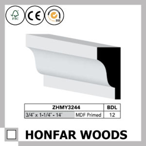 Simplicity Style MDF Primed Crown Moulding for Canada Hotel Building pictures & photos