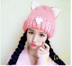 Hotselling Warm Knitted Acrylic Sweet Cats Ears Hats pictures & photos