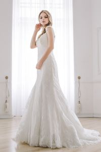 Cap Sleeves Bridal Formal Gowns Wholesale Lace Trumpet Wedding Dress Lb1925 pictures & photos