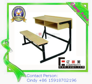 Wood 2-Seaters Desk Chair with Drawers for School Education (SF-51D) pictures & photos
