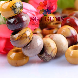 Semi Precious Stone Big/Large Hole Beads with Silver Core