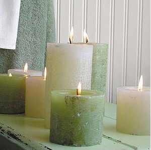 Assorted White & Green Pillar Candle (UCP-1025)