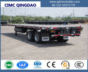 40FT Flatbed Semi Truck Trailer with Boggie Suspension pictures & photos