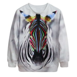 Animal Printed Pullover Jaqueta Colegial Roupa Feminina Blusao College Anime Hoodie 3D Zebra Head Printing Sweatshirt Female