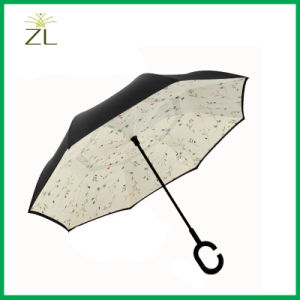 Custom Printing C Handle Double Layer Fashion Reverse Umbrella pictures & photos