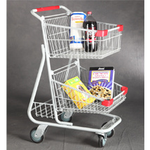 Canadian American Style Double Basket Shopping Trolley Cart pictures & photos