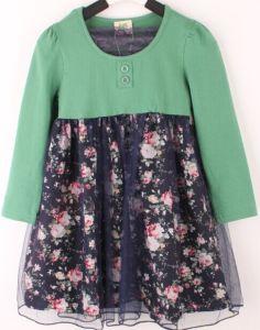 Two-Piece Floral Dress Stitching Net Kid′s Wear D21