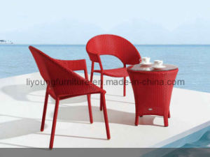 Red Rattan Table and Chair Garden (LG-S-159)