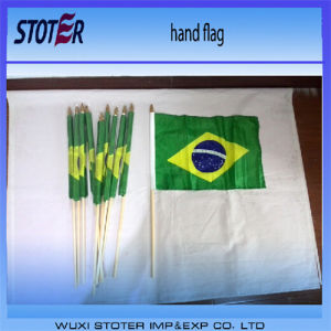 Cheap 100%Polyester 30*45cm Brazil Hand Flags for Cheering
