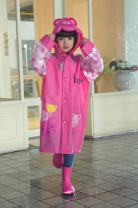 Red Bear PVC Raincoats for Girl