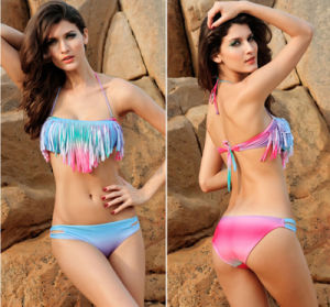 Latest Summer Gradient Wrapped Chest Two Parts Cushioned Women′s Swimwear pictures & photos
