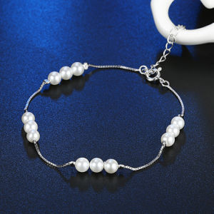 925 Sterling Steel Bracelet Delicate Pearl Silver Bracelet for Young Girl pictures & photos