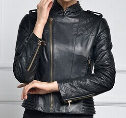 Women′s Fashion Sexy Slim Fit Leather Jacket with Stand Collar pictures & photos