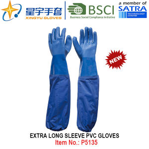 Extra Long Sleeve PVC Coated Gloves, Work Gloves with CE, En388, En420 pictures & photos