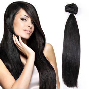 Double Drawn Thick Full Head Brazilian Clip in Human Hair Extensions for Wholesale pictures & photos