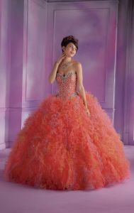 Rhinestones Quinceanera Dresses Beads Organza Colored Wedding Ball Gowns Z3034 pictures & photos