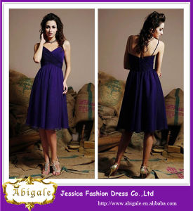 High Quality Custom Made A Line Knee Length Purple Chiffon Zipper Back Sash China Bridesmaid Dresses 2014