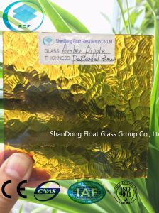 Amber Ripple Patterned Glass with Ce, ISO (3-8mm) pictures & photos