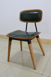 Commercial Modern Metal Restaurant Furniture Wood Chair with Leather Back and Seat