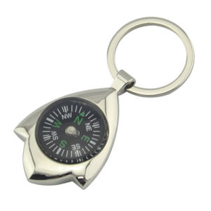 Promotion Metal Key Holder Thermometer Compass Keyring (F1090)