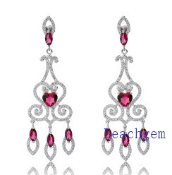 Jewellery-Pink Ruby Sterling Silver Earrings (E8905) pictures & photos