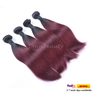 Wholesale Peruvian Human Hair Ombre Colored Remy Hair Weft pictures & photos
