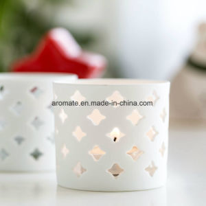 Hollowed White Cylinder Ceramic Candle Holder (CC-07) pictures & photos