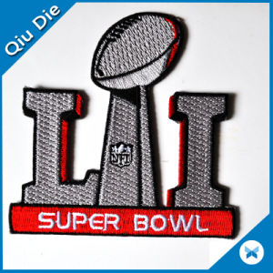China Factory Custom Fancy Embroidered Badges for Super Bowl pictures & photos