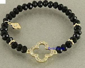 Natural Onyx Beads Bracelet with Silver Charm (BRG0059) pictures & photos