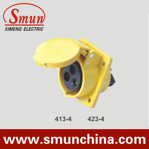 Angle Panel Socket 16/32A 110V IP67 3pin Yellow pictures & photos